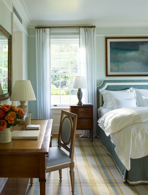 blue and white headboard and bed skirting ~ Cullman and Kravis