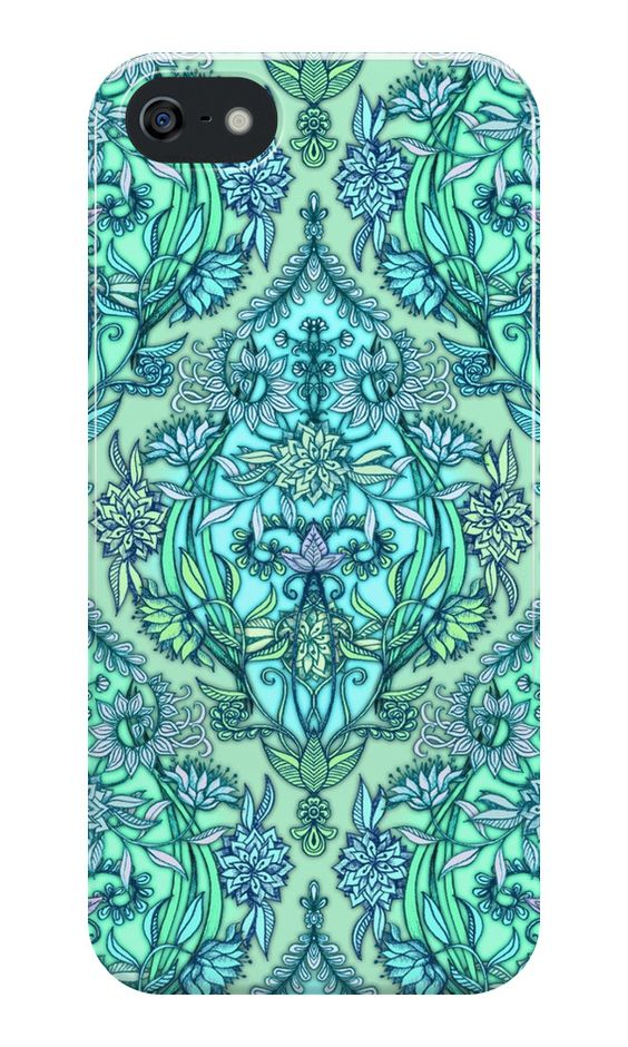 """Botanical Moroccan Doodle Pattern in Mint Green, Lilac & Aqua"" iPhone Cases & Skins by micklyn 