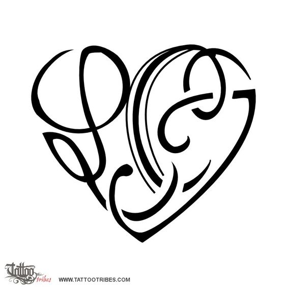 L c c c j heart family union carina requested a for Single letter tattoo designs