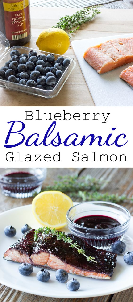 Blueberry Balsamic Glazed Salmon is salmon that has been coated in a ...