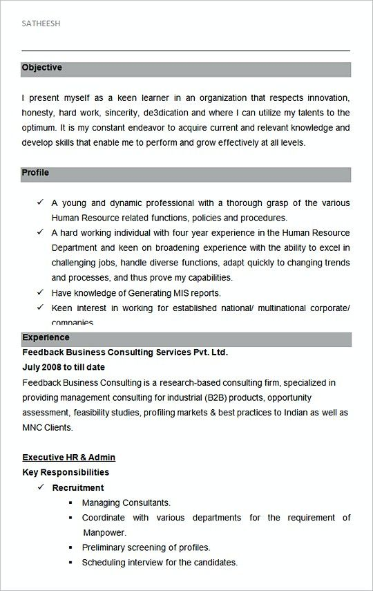 Executive Hr And Admin Sample Resume Template Hiring Manager Resume The Hr Team Is Fantastic Are Yo Hr Resume Sample Resume Templates Resume No Experience