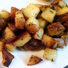Home fries recipe:  5 · red potatoes , cubed skin on 1 tablespoon · olive oil 1 tablespoon · Italian seasoning 1 teaspoon · garlic powder 1 teaspoon · paprika 2 tablespoon · butter ¼ cup · chopped onions, optional