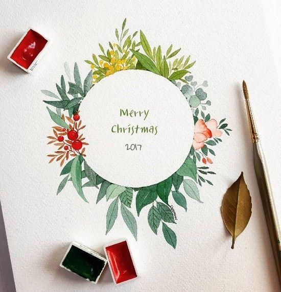 수채화 리스 새디자인 네이버 블로그 크리스마스 카드 수채화 꽃그림