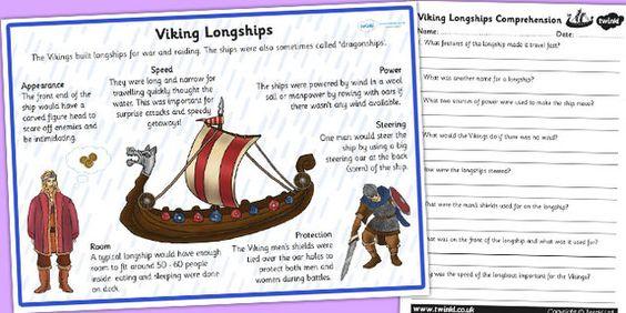 vikings longships information and comprehension worksheet viking study pinterest student. Black Bedroom Furniture Sets. Home Design Ideas