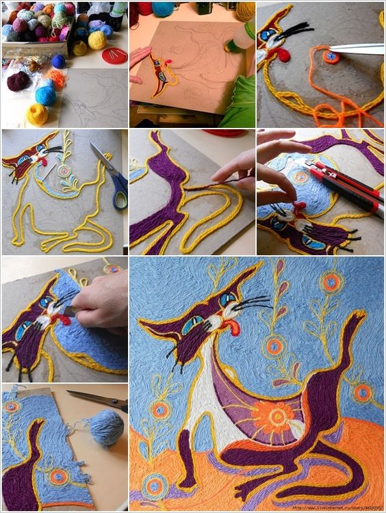 Yarn painting!  I did something like this when I was a kid.