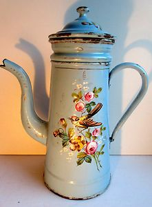 French-blue-Enameled-Coffee-Pot-with-bird-Goldfinch-Butterfly-Pansies-Roses