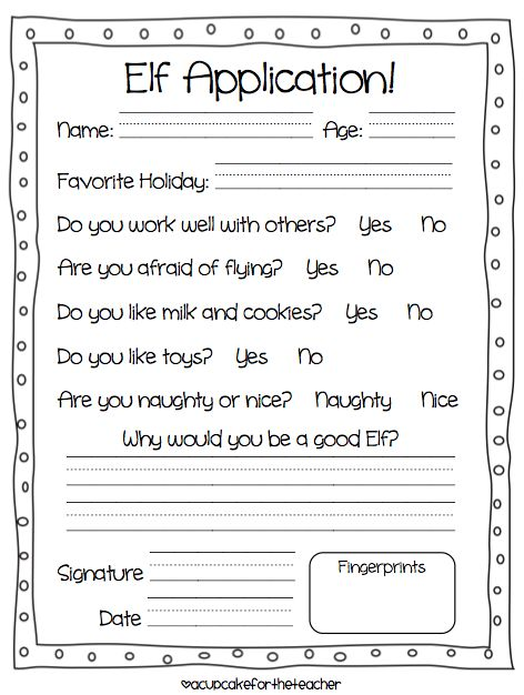 Elf Application form, it would be cute to do the fingerprints red ...