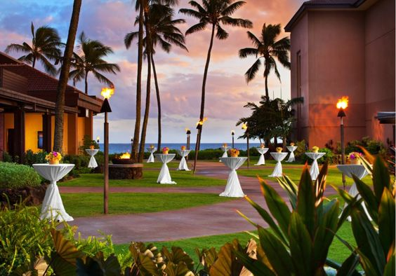 A stunning sunset view for a #wedding reception at the Sheraton Kauai Resort #SPGDreamWedding #SPGWeddings
