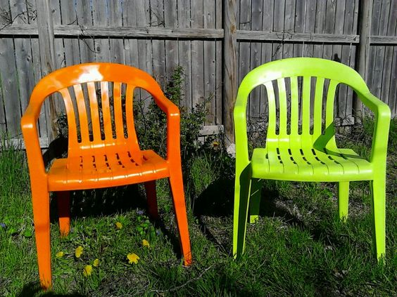 Refurbish your old lawn chairs with some 5 rustoleum paint clings well to plastic paint it Painting plastic garden furniture