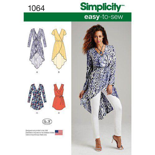 Simplicity Pattern 1064 Misses' Tunics