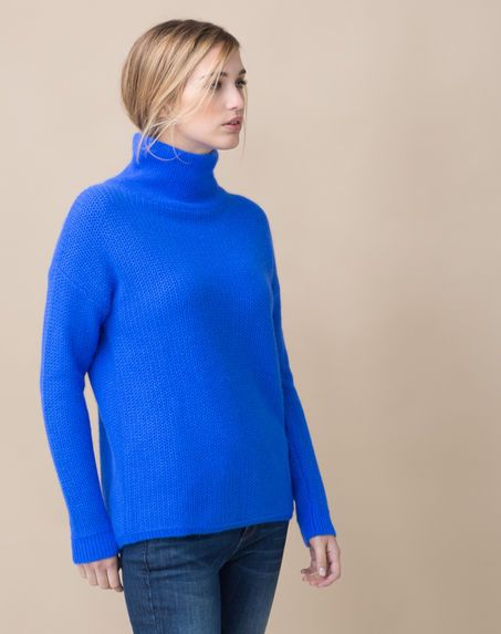 Pull bleu roi avec angora Siberie - BLEUET - 123