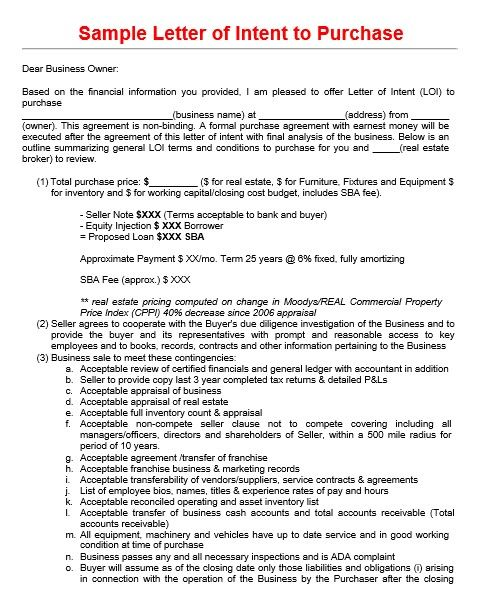 Letter Of Intent To Purchase Commercial Property Letter Of Intent Lettering Intentions