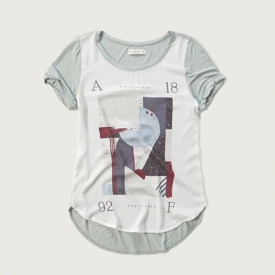 Abercrombie & Fitch Sublimation Tee (210 EGP) ❤ liked on Polyvore featuring tops, t-shirts, grey, abercrombie fitch t shirts, gray t shirt, curved hem t shirt, grey top and grey crew neck t shirt