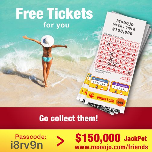 Here is a present for you. Win $150,000 next Saturday with these free lotto tickets! Claim your present at www.mooojo.com/friends and choose your lucky numbers. Your passcode is: i8rv9n – Go get lucky too!