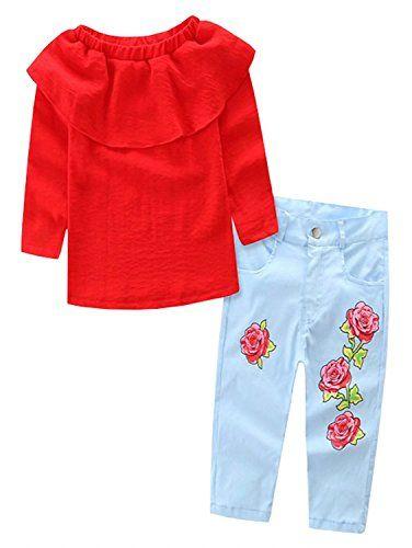 e42e1b0a4b86 Betusline Kids Baby Girls Off Shoulder Tops Rose Jeans Pants 2PCS ...