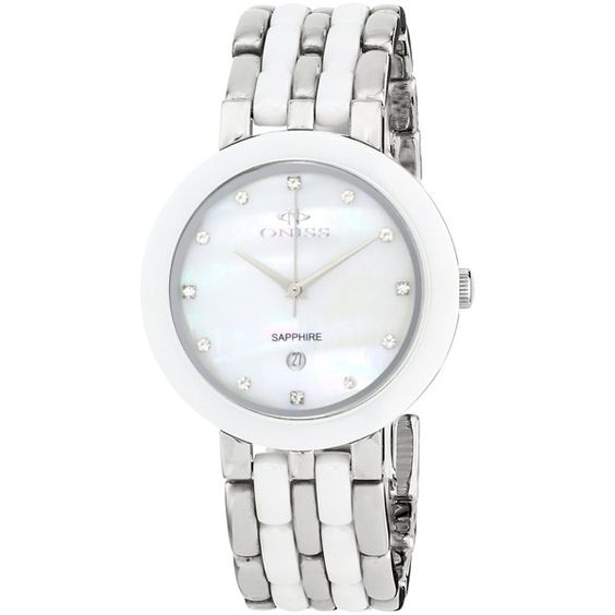 Oniss Paris Daisy Ceramic Collection White Watch ($103) ❤ liked on Polyvore featuring jewelry, watches, analog wrist watch, white watches, white wrist watch, analog watches and ceramic watches