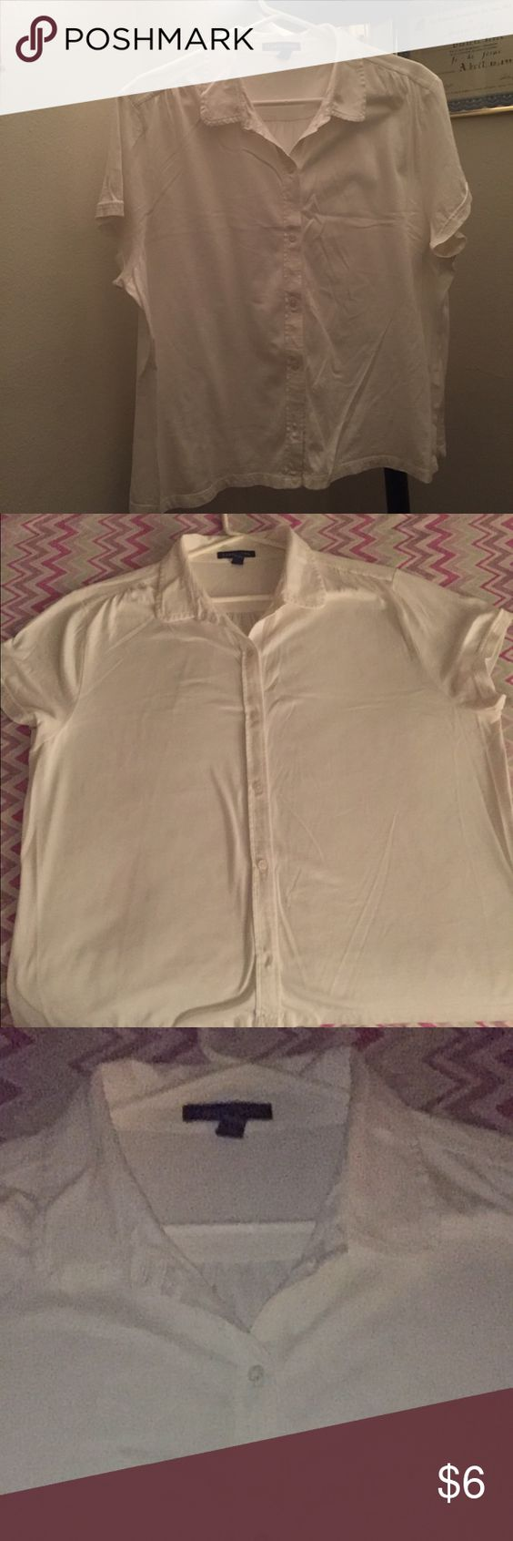Blouse White blouse used but still in good condition. Must be bundled 👍 Lands' End Tops Button Down Shirts