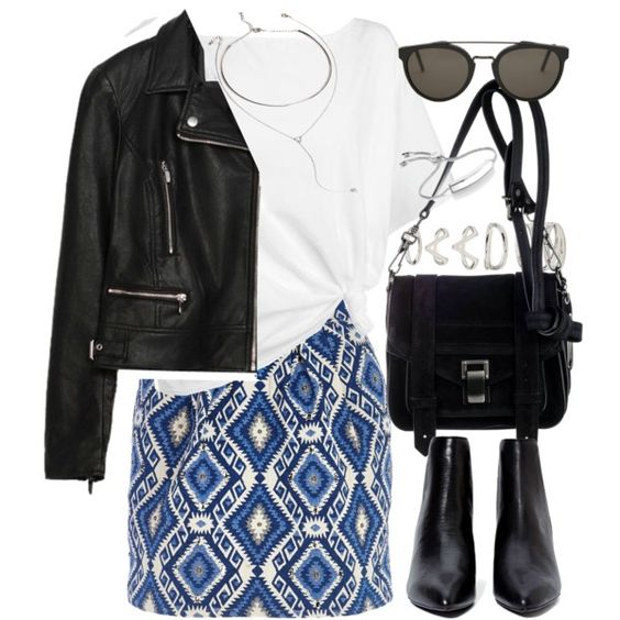 Outfit with a geometric skirt by ferned on Polyvore featuring moda, Red Herring, Zara, River Island, Proenza Schouler, Forever 21, Monica Vinader and RetroSuperFuture