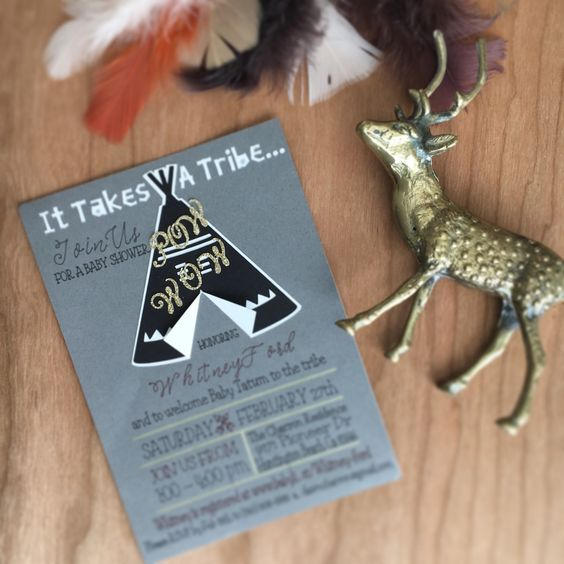 Tribal Powwow Baby shower   Handcrafted invites with TeePee!