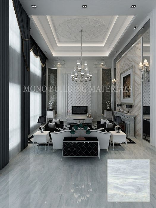 Yabo grey polished porcelain marble look floor tile from MOREROOM STONE
