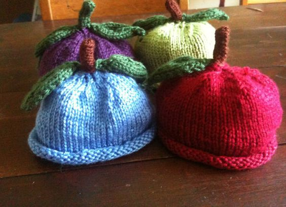 Hand Knit Baby hat  Fall Fruit Baby  Hat by DarellaBaby on Etsy