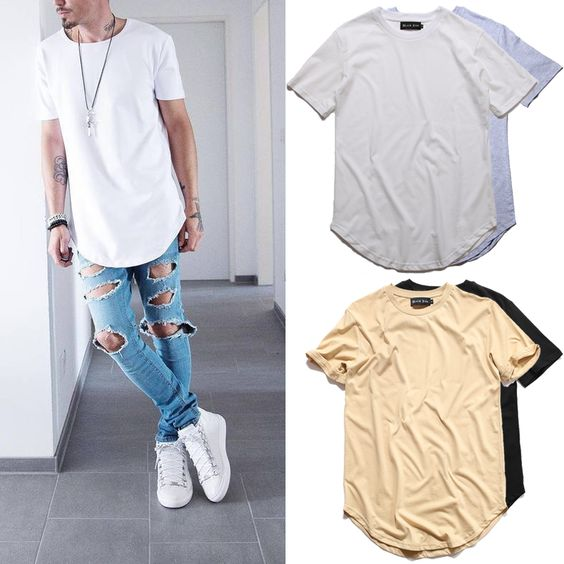 2016 Justin Bieber Curved Hem T shirt Hip Hop  Men Extended Skate T shirt for Men Solid Longline Mens Tee Shirts Kanye West-in T-Shirts from Men's Clothing & Accessories on Aliexpress.com | Alibaba Group
