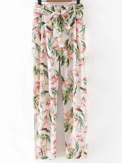 Pantalones lazo floral -multicolor