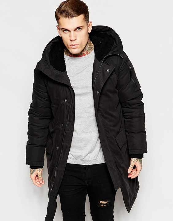Image 1 of ASOS Parka Jacket With Thinsulate In Black | winter ...