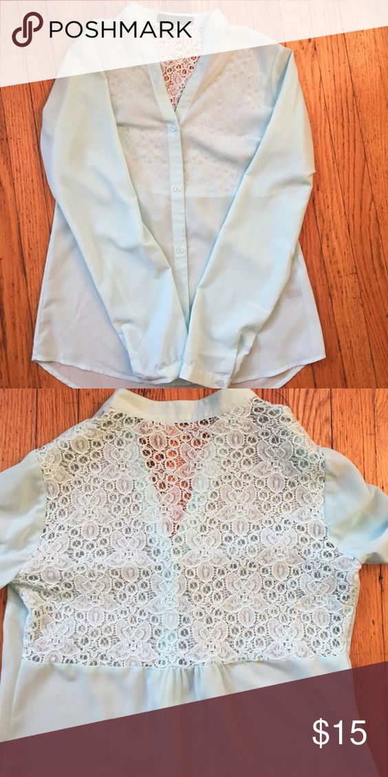 Mint blue long sleeved top One of my favs! Sheer long sleeved, lace back top. Super cute with jeans for a night out! The Limited Tops Blouses