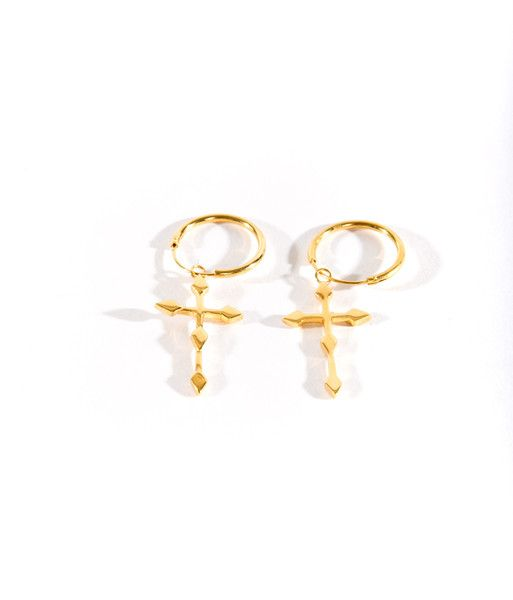 Crucifix Earrings Gold
