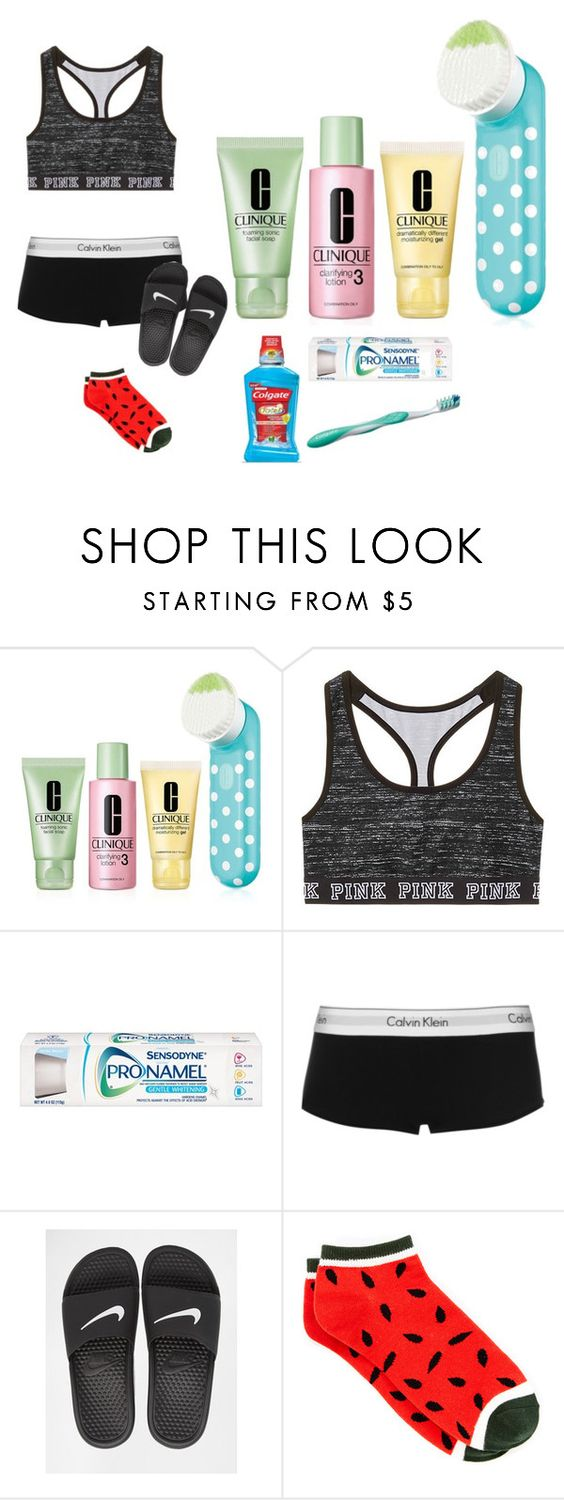 """""""Sleep"""" by queenmorgan16 ❤ liked on Polyvore featuring Clinique, Colgate, Calvin Klein and NIKE"""