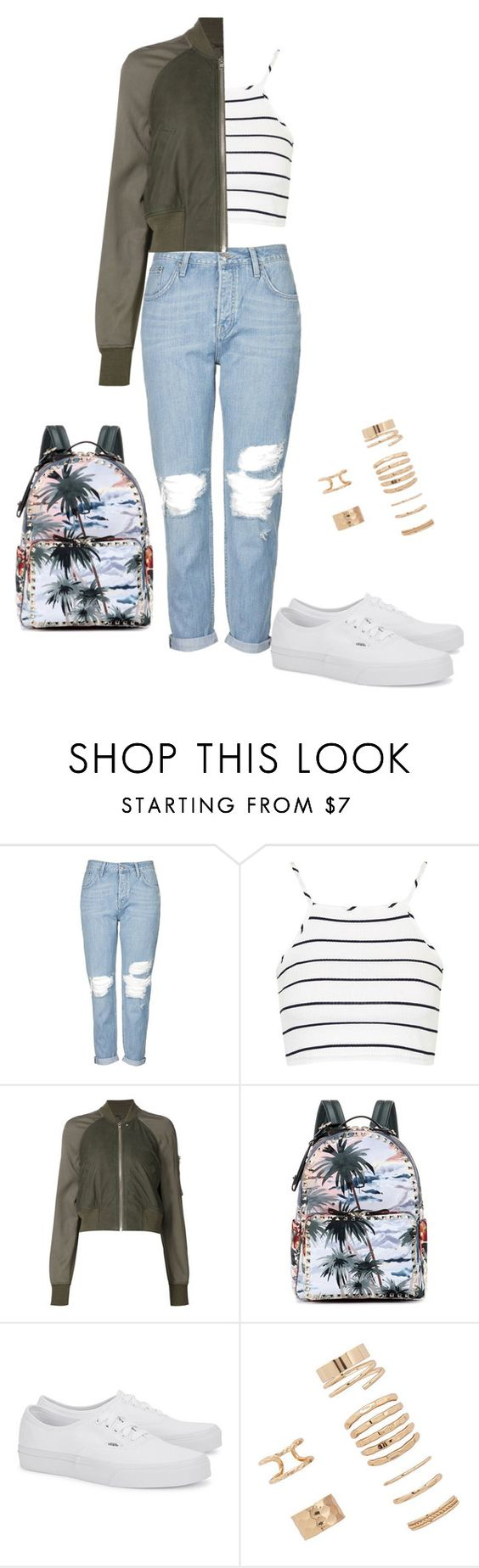 """""""Untitled #937"""" by molk7 ❤ liked on Polyvore featuring Topshop, Rick Owens, Valentino, Vans and Forever 21"""