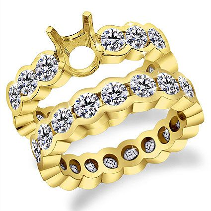 14K Gold Channel Diamond Eternity Setting with matching band