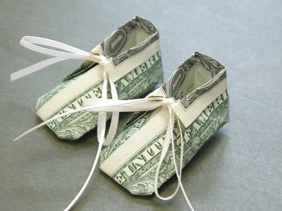 money origami baby booties: