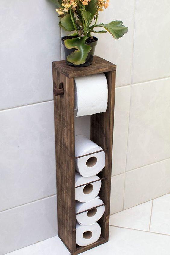 Soporte de madera para papel higi/énico estante de madera para papel higi/énico