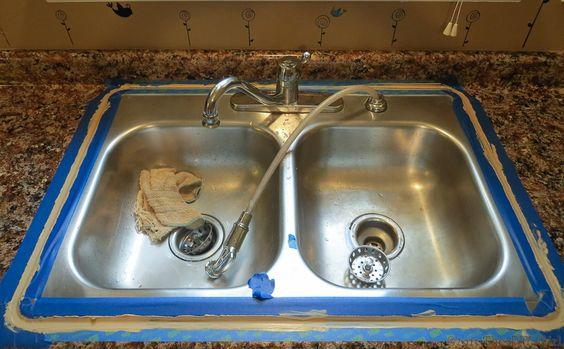 Caulking sink after Giani Granite Paint - The DIY Girl Kitchen ...