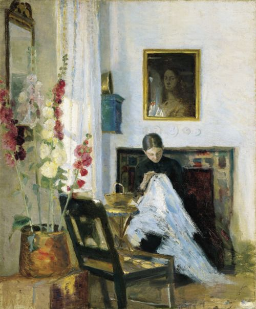 Marie Krøyer, Interior with Girl Sewing: