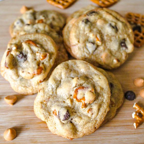 sweet + salty Pretzel Butterscotch Chocolate Chip Cookies