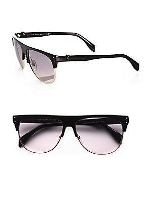 Alexander McQueen Retro Wayfarer Round Metal Sunglasses