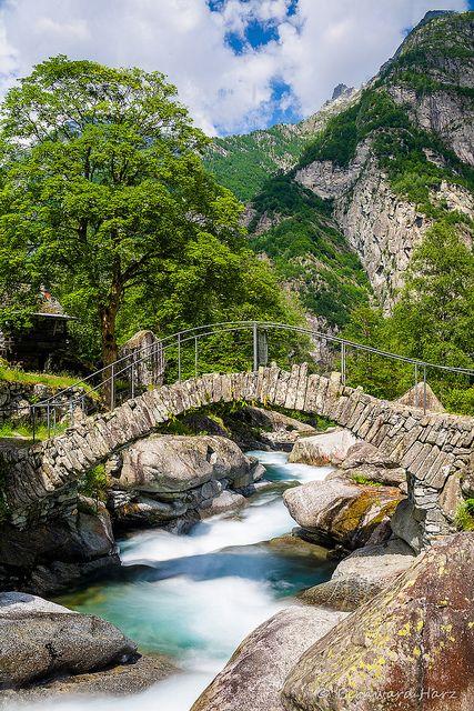Stone bridge in Val Bavona, Ticino Canton, Switzerland