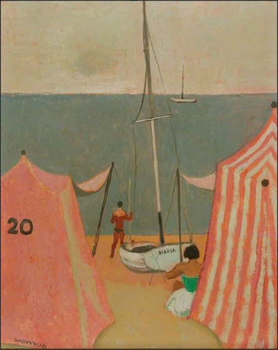 Bathing Tent And Boat By Alberto Morrocco Boat Art Art Painting