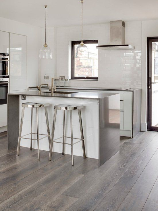 If Youre Gone Kitchen Flooring Ideas To Restore Your Cooking Area Create Work And Durabil Living Room Wood Floor Grey Wood Floors Kitchen White Modern Kitchen