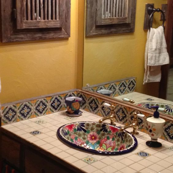 Decorating with mexican talavera tile bathrooms decor pottery and love the for Talavera tile bathroom designs
