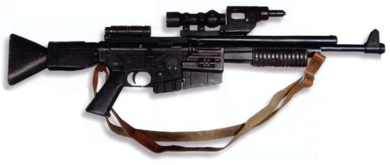 A blaster rifle was a designation given to certain types of offensive rifle-shaped blaster weaponry, typically with a longer barrel than other types of blasters. Blaster rifles were heavy duty blaster variants, much more powerful than a pistol, although heavy weapons were much more powerful than rifles. Most rifles came equipped with a stun setting, used to temporarily disable an opponent. Blaster rifles had a retractable stock and weighed about 4.5 kg for most models. The ideal range for...