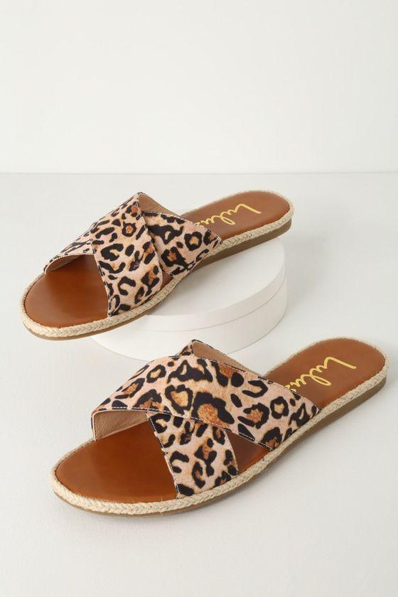 leopard espadrille slides
