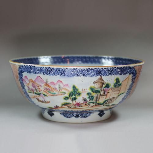 Chinese Famille Rose Bowl Qianlong 1736 95 Guest And Gray Rose Bowl Bowl Famille