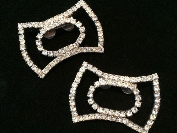 Vintage Pair Mid Century Silver Tone Clear Rhinestone Shoe Clips Jewelry | eBay