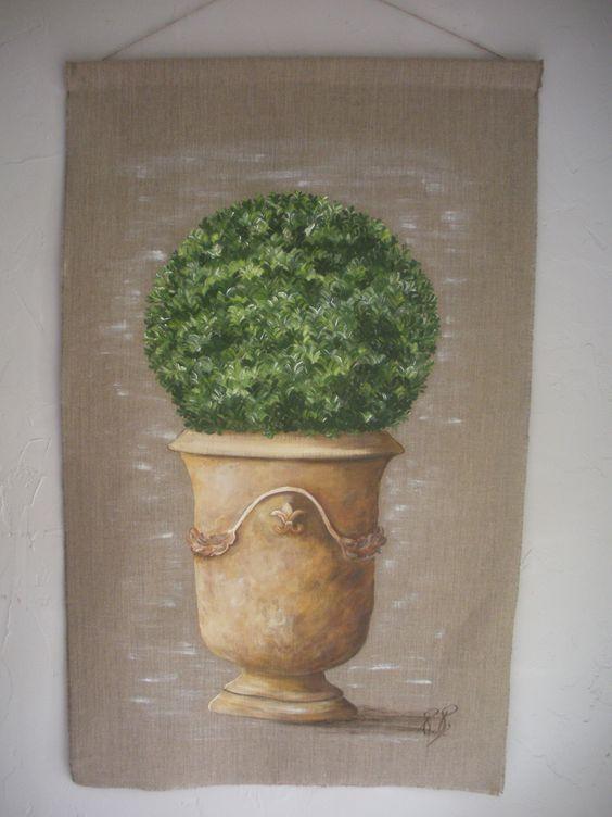 Peinture sur lin topiary pinterest - Peinture lin naturel ...