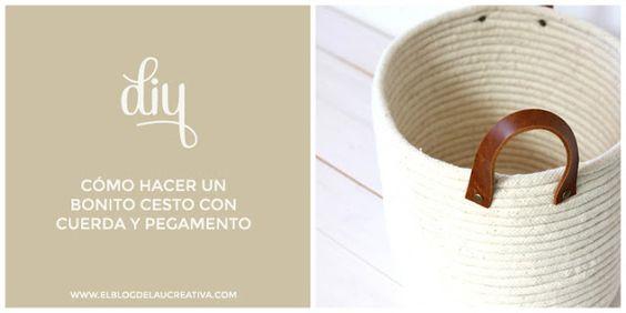 DIY: Cómo hacer un bonito cesto con cuerda y pegamento