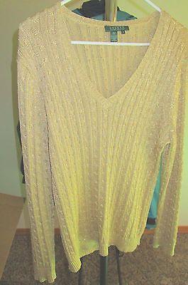 RALPH LAUREN gold metallic sweater cable knit v-neck silk 2X https://t.co/B3RrzVS0M1 https://t.co/08c4W7fdcp